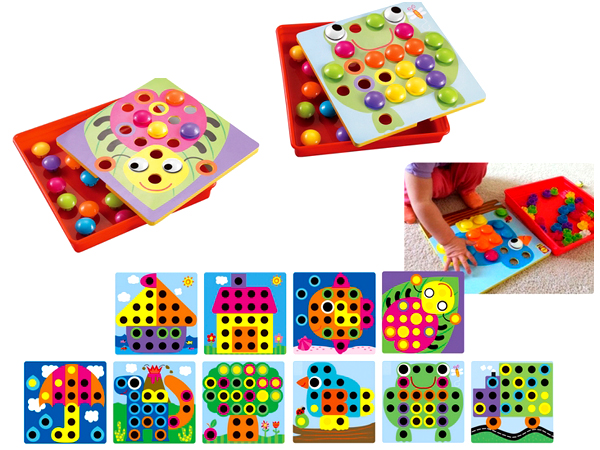Button Art Color Matching Mosaic Pegboard Puzzles Game Toy ...